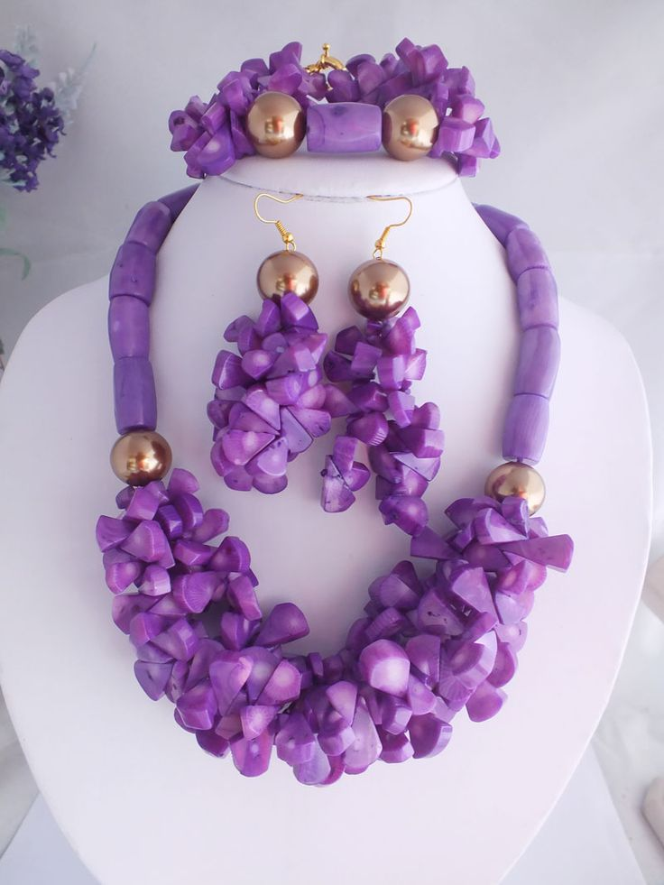 free shipping!!! Fashion Design Purple Coral Beads Jewelry Set New Handmade African Beads Jewelry Set SN1005  $68.93