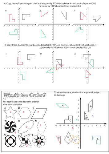 Maths Rotation Worksheets Ks2 - transformation worksheets by ...