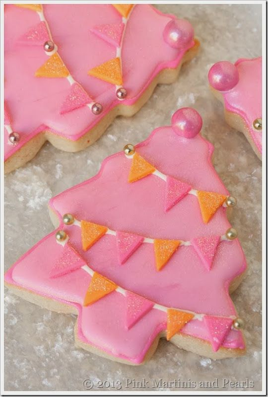 Pink Christmas Tree Cookies with Fondant Pennants
