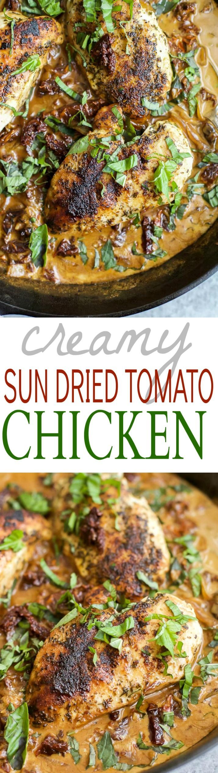 Dairy Free CREAMY SUN DRIED TOMATO CHICKEN loaded with sun dried tomato flavor and a nice pop of basil for freshness! All made in one skillet for easy clean up! | joyfulhealthyeats.com | gluten free recipes