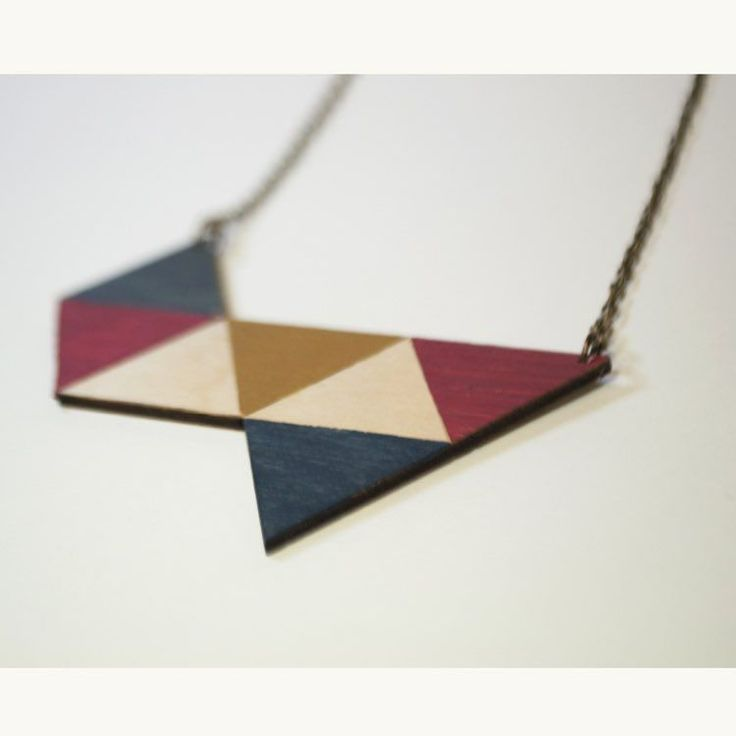 Collana geometrica in legno #wooden #necklace #lasercut #alittlemarket #handmade #craft #diyideas #diy #diyfashion #ideas #red #blue #yellow #geometric #pattern  Check my creations in my online shop! by lab_124