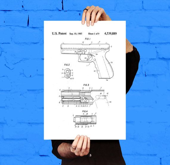 Glock Gun Poster, Glock Gun Pistol Patent, Glock Gun  Print, Glock Pistol Art, Glock Pistol Decor, Glock Pistol Blueprint, Revolver by STANLEYprintHOUSE  0.79 USD  This is a vintage patent print. The Wesson Revolver from 1898.  This poster is printed using high quality archival inks, and will be of museum quality. Any of these posters will make a great affordable gift, or tie any room together.  Please choose between different sizes and colors. ..  https://www.etsy.com/ca/listing/4..