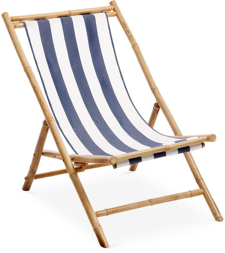 One Kings Lane Bamboo Lounge Chair White Blue Stripe