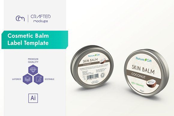 Cosmetic Balm Label Template by Crafted Mockups on @creativemarket