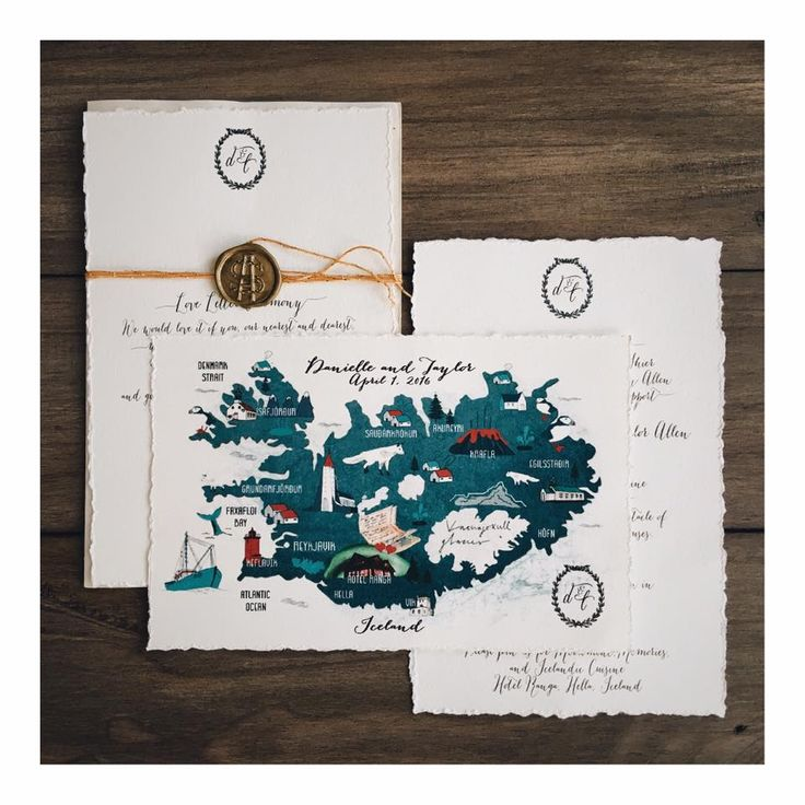 hand drawn invitations, type, iceland, elopement, maps, wedding stationary