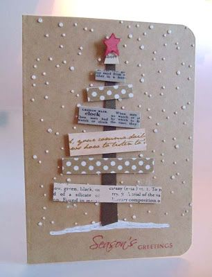 Tree card using washi tape.   Could substitute paper scraps!