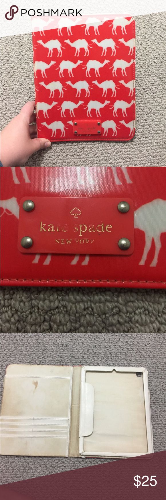 Kate spade iPad case Adorable Kate spade iPad case with camel print. Some wear on the front nameplate, pictured, as well as wear inside. Comes with pouches on the inner flap to hold cards and papers. kate spade Accessories Tablet Cases