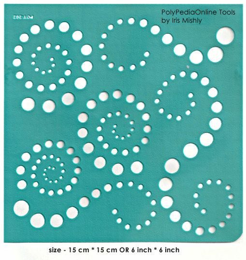 "Stencil Stencils Pattern Template ""Circles"" 6 inch/15 cm, reusable, adhesive, flexible, for polymer clay, fabric, wood, glass, card making"