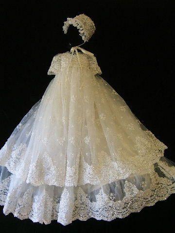 Audrey Louise size 3/6 white Angela West Christening gown set  bonnet,booties,bib,blanket and custom monogram. $388.00, via Etsy.