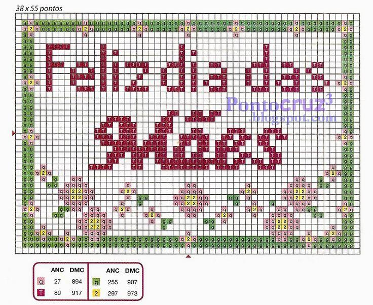 Bordados Ponto Cruz: Gráfico ponto cruz - Feliz dia das Mães. #pontocruz #pontodecruz #bordados #artesanato #graficos #graficospontocruz