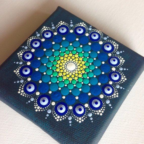 Dotart 10 x 10 verde azul Mandala pintura original sobre lienzo, pintura, oficina y decoración de hogar adorno regalo Dotilism Dotart Henna arte