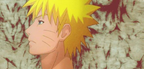 Naruto.  I love that smile.   At first, he was looking sad then he breaks into this mega smile. Awww, Naruto.