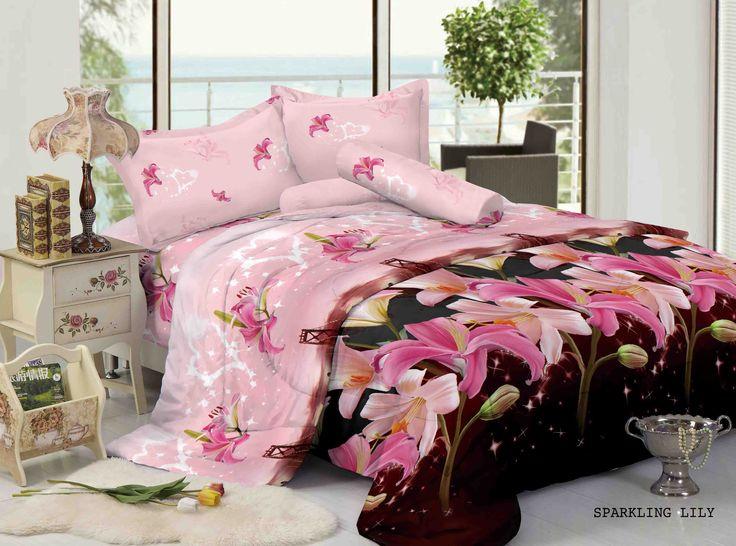 """SPARKLING LILY - """"Motif bunga lily yang menawan berwarna shocking pink dengan paduan background kota San Fransisco memberikan kesan exotic untuk kamar keluarga tercinta"""""""