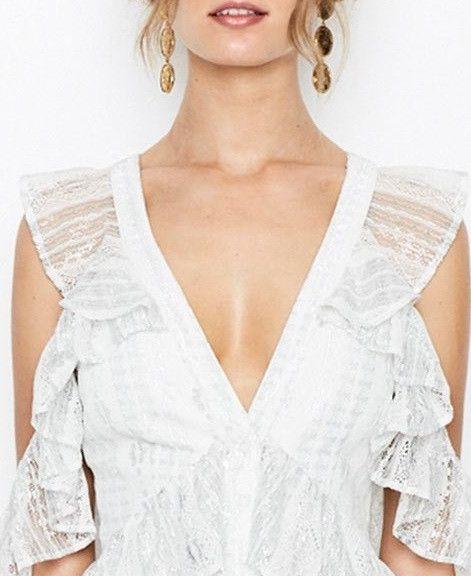 Alice McCALL - Silver Melody Midi Ruffle V Neck Dress
