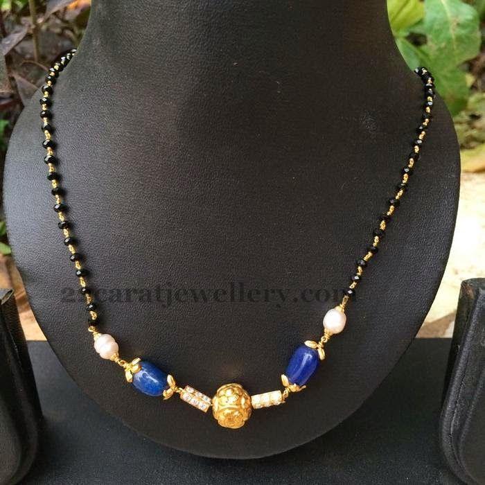 Jewellery Designs: Black Beads Sets Below 6 Grams