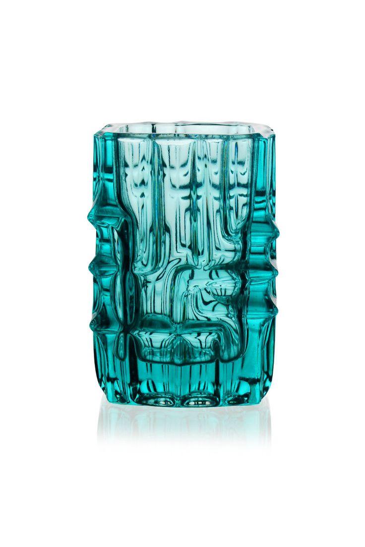 Rosice Glass Vase By Vladislav Urban / Green Vase / Union -Sklo /Czech
