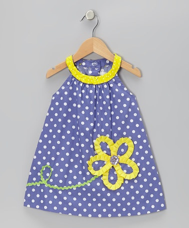 Take a look at this Purple & Yellow Polka Dot Flower Yoke Dress - Toddler & Girls by Rare Editions on #zulily today!
