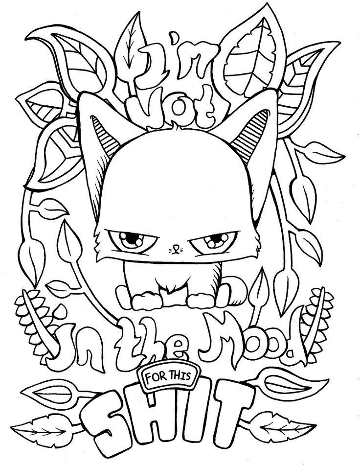 Funny cat adult colouring pages, from an adult coloring ...