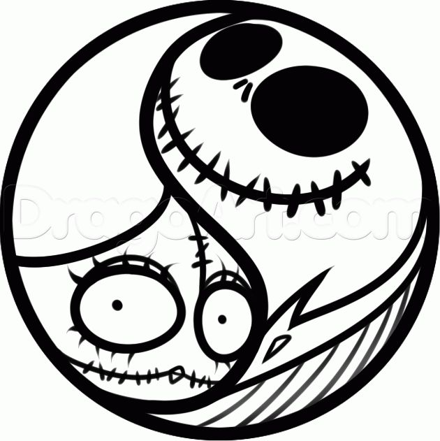 How To Draw A Jack And Sally Yin Yang Step 6