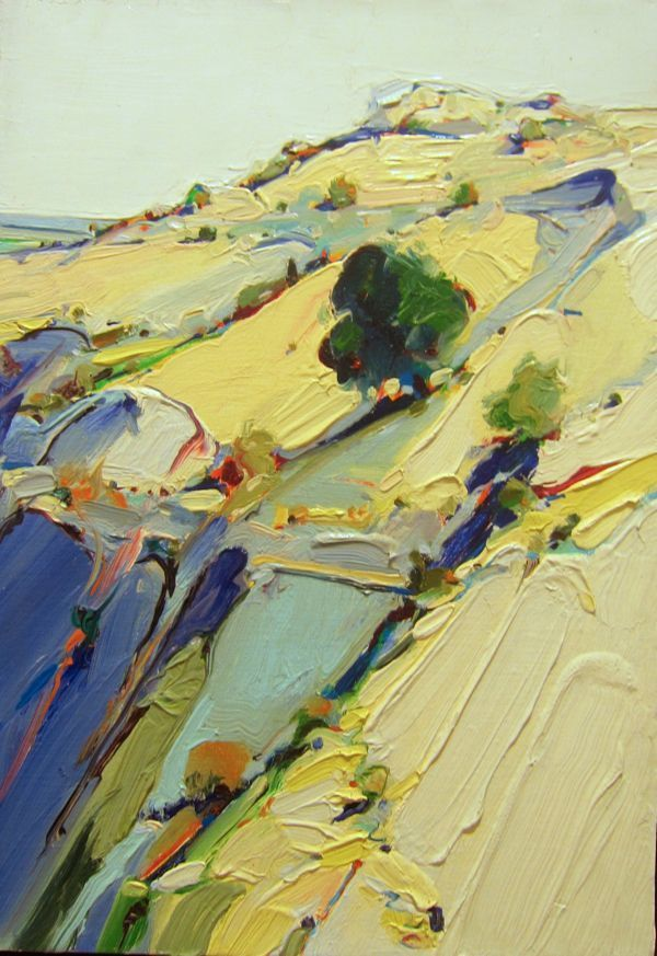 landscape painting by Wayne Thiebaud 2014 Thiebaud is the famed pop artist from 1970s who painted cakes & pies ; )