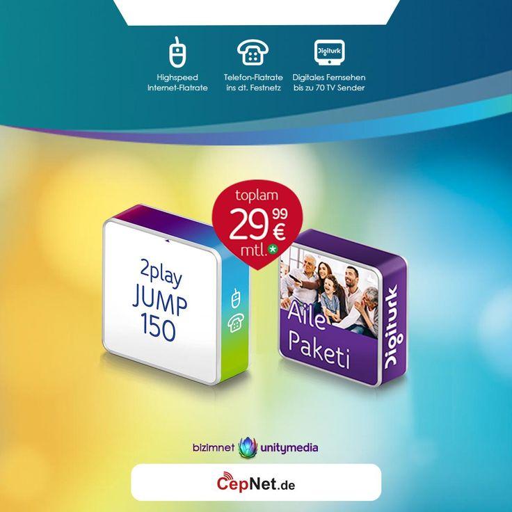 🎉🎈🎁bizimnet 2play Jump 150 + Digiturk Aile Paketi 29,99€ mit günstigem DSL Unitymedia 2play JUMP 150 + Digiturk Aile Vertrag  👉👉 https://www.cepnet.de/dsl/bizimnet/2play-jump-150/-digiturk-aile-paketi-2999/dsl/unitymedia-2play-jump-150-digiturk-aile/?utm_source=cepnet_sosyal&utm_medium=sosyal&utm_campaign=bizimnet_digiturk    ✅Internet Flat*  ✅Digitales Fernsehen  ✅Telefonie Flat*  ✅WLAN-Modem inklusive  ✅Digiturk IP Box Humax inklusive  ✅monatlich nur 29,99€ **    ➤Gerätepreis einmalig…