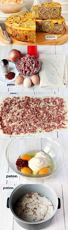 Мясной пирог Ленивец в мультиварке - рецепт для мультиварки - patee.ru