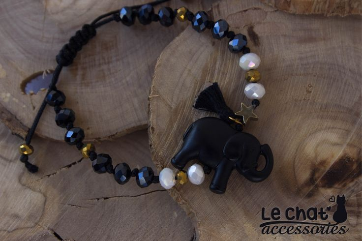 Boho chic shiny black cord bracelet with little black elephant and crystal beads...  #lechataccessories #black #elephant #<3 #loveit #shiny #blueblack #crystalbeads #bohemianchic  © Danae Lolou  Find me on Facebook & Instagram : Le Chat Accessories for more photos. https://www.facebook.com/lechataccessoriesdanae/  https://www.instagram.com/lechataccessories/
