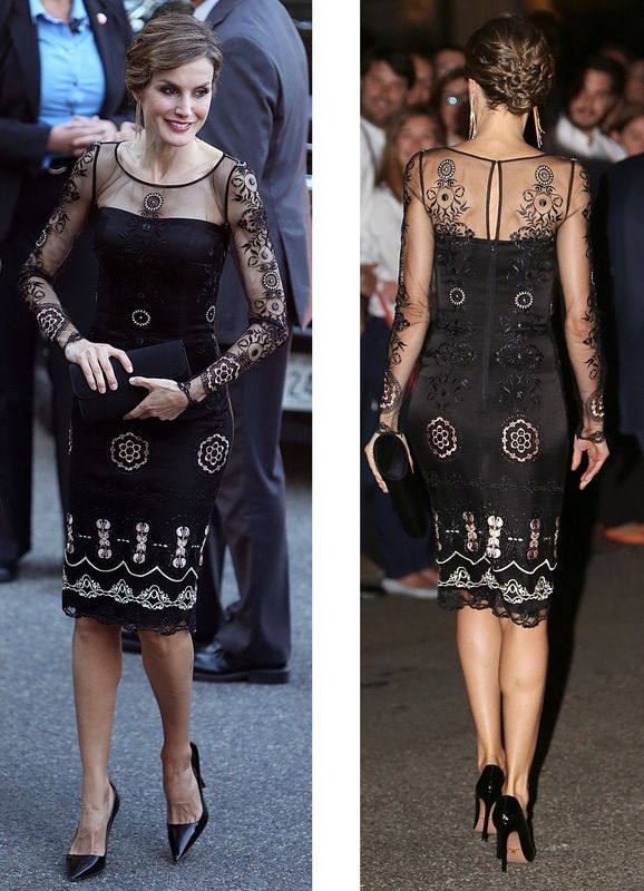 Felipe Varela black illusion embriodered cocktail dress. Debuted Sep 2015