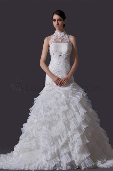 Retro, Elegant Organza , Satin Wedding Dresses Ivory