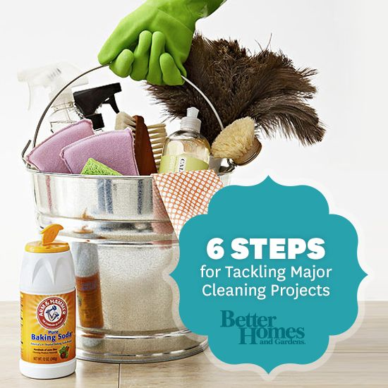 Stop stressing! Here are six steps for tackling major cleaning projects: http://www.bhg.com/homekeeping/house-cleaning/tips/major-cleaning/?socsrc=bhgpin081413sixstepcleaning