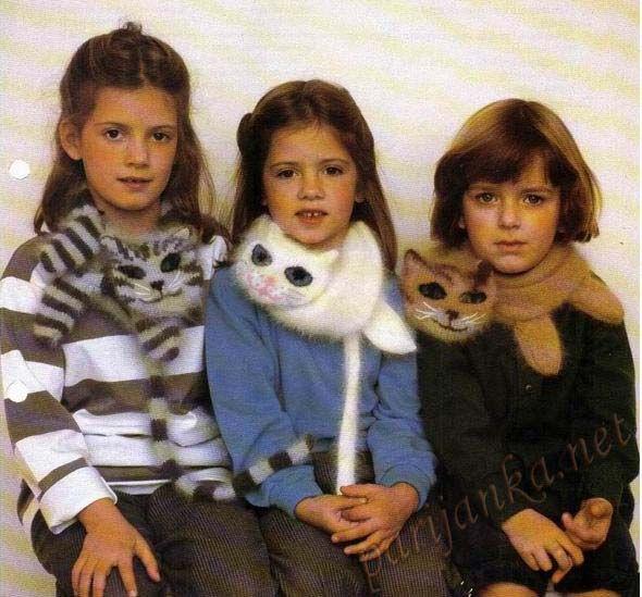 """Вязаная шарфы """"котята"""", вязание для детей котошарф - схема вязания, фото, описание"""