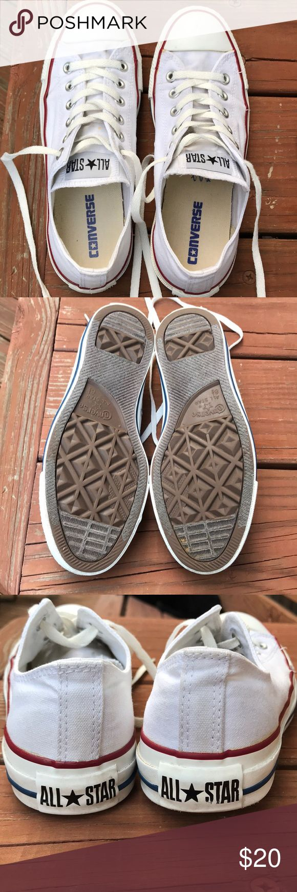 White converse tennis shoes Size 6.5 in men's white converse tennis shoes. Women's size 8.5 Gently used. Good condition Converse Shoes Sneakers