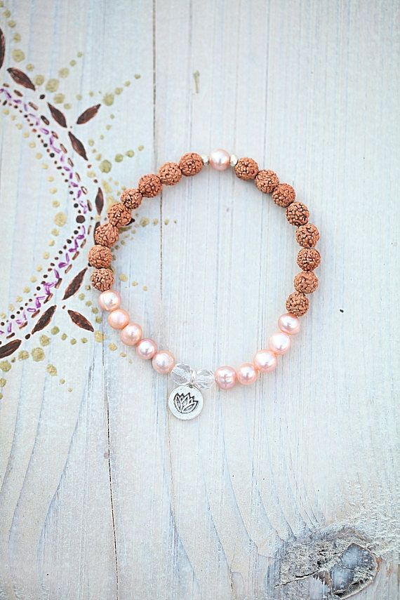 Rudraksha bracelet symbol Lotos charm silver gift spirit