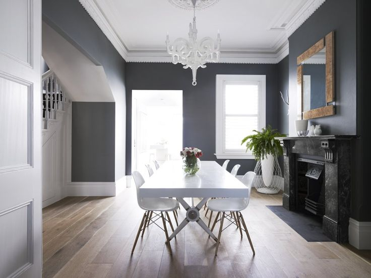 grey walls and white dining room accents Greg Natale | Sydney based architects and interior designers