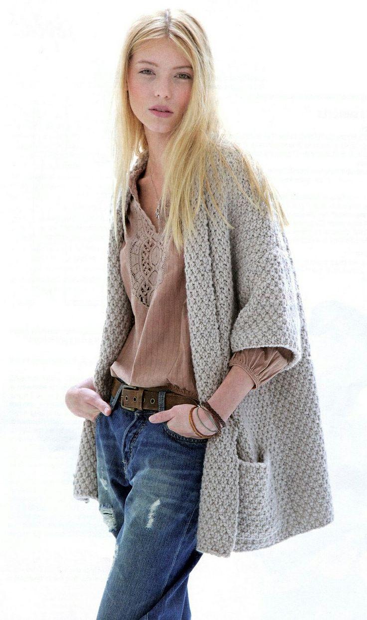 gray knit jacket, blush boho top