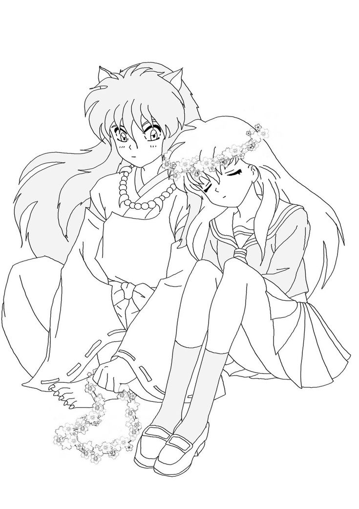 inuyasha and kagome coloring pages - Coloring Stencils