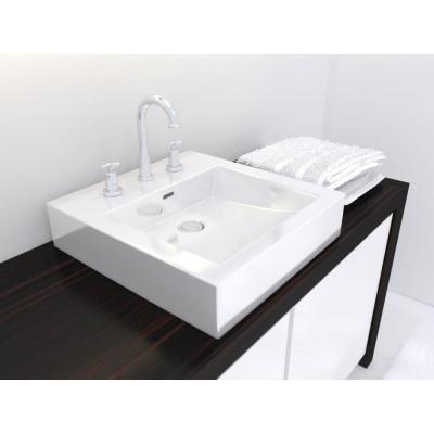 White Square Vessel Sink : vessel sink