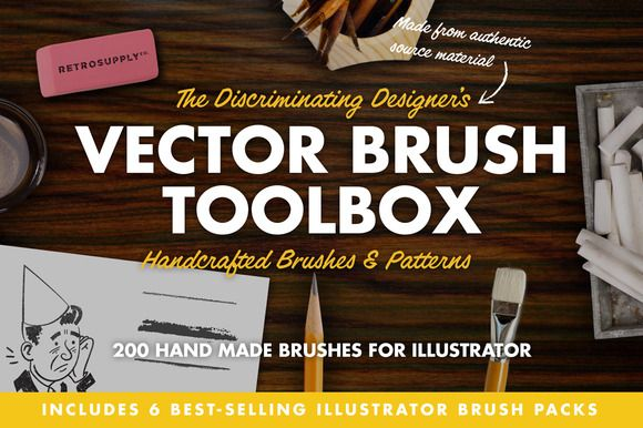 The Vector Brush Toolbox by RetroSupply Co. on Creative Market