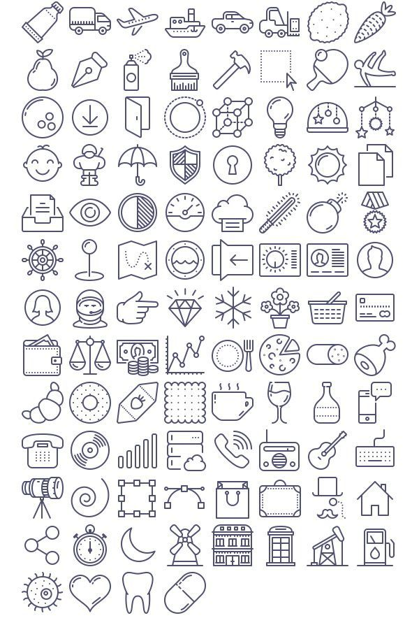 Kostenloser Download: 100 Unigrid-Vektor-Icons – #…