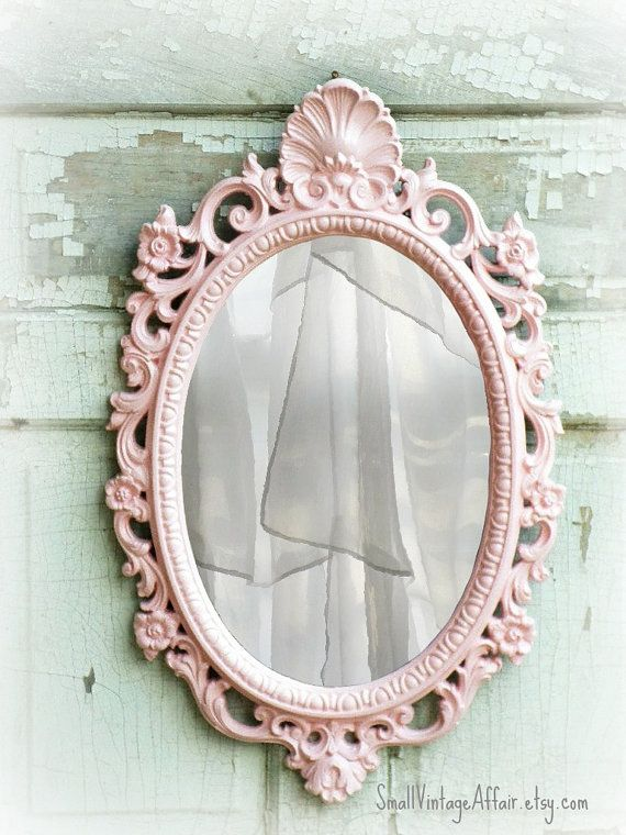 N U R S E R Y  Oval Shabby Chic Mirror French Country Nursery Vanity