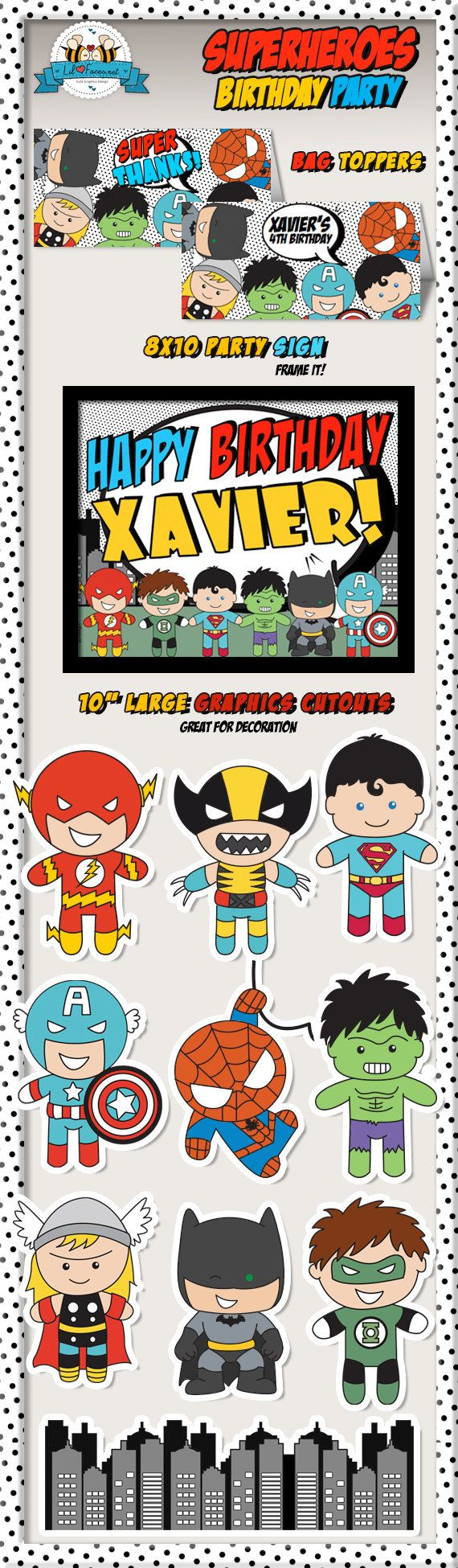 Superheroes Pop Art Superhero Birthday Party by LilFacesPrintables