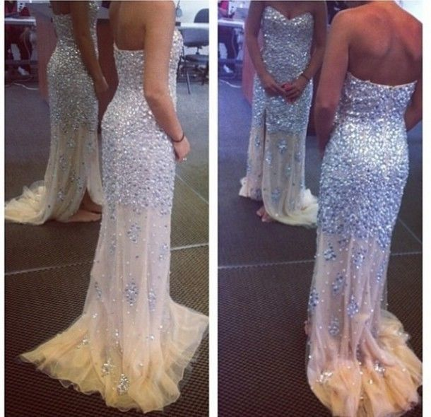 New Crystal Bead Prom Dresses 2014 Long Formal Evening Party Cocktail Ball Gown