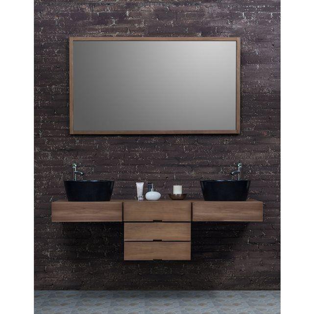 Ensemble de Salle de Bain en bois de Teck - Meuble de salle de bain Teck 160 cm - 2 vasques Marbre + Miroir BOIS DESSUS BOIS DESSOUS