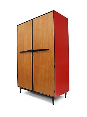 Red Lacquered Oak Wardrobe | 1950s