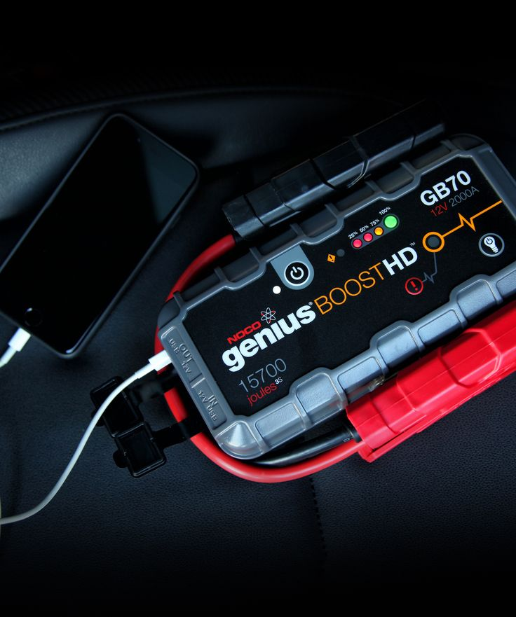 Safely jump start a dead battery in seconds. Not your typical lithium-ion jump starter. Rugged. Lightweight. Heavy-duty. Thermally protected. Built with our patented internal safety for spark-proof connections and reverse polarity protection. Jump start 8.0L gas and 6.0L diesel engines. Charge USB devices and power 12V accessories. Stays charged up to a year in your glove box.