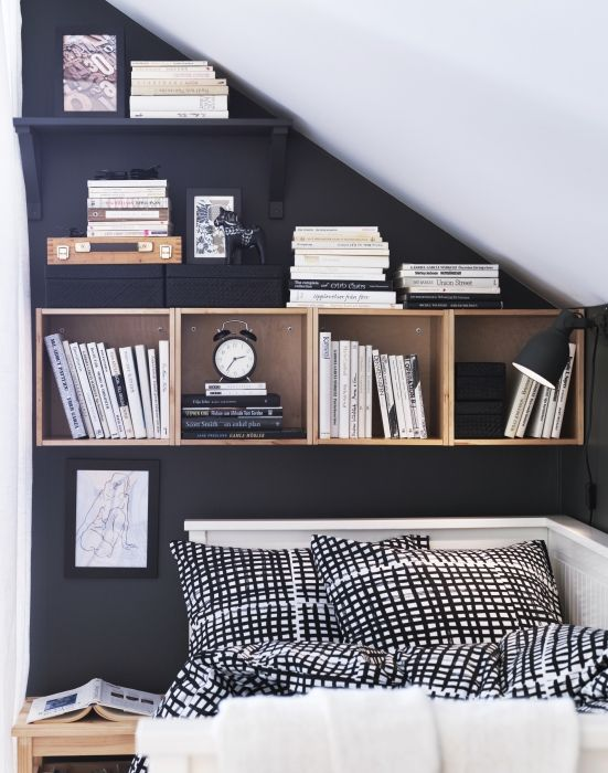 Even in the smallest of bedrooms, there's always room for storage. Wall shelves help to make the most of the space you have, so you can display the things you love and keep important items within reach.