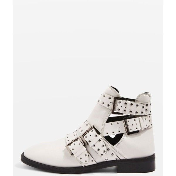 Topshop Ark Leather Studded Buckle Boots (£85) ❤ liked on Polyvore featuring shoes, boots, ankle booties, topshop, white, white ankle boots, leather bootie, low ankle boots, white booties and cut-out booties