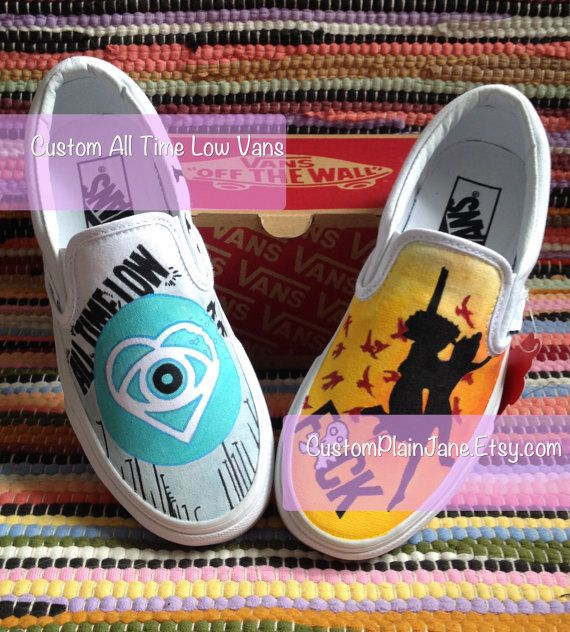 Hand Painted All Time Low Themed Vans or Converse  These are a hand painted custom order Vans with a mash up of All Time Low album art inspired designs.  The Authentic Vans original and now iconic style, is a simple low top, slip on with durable canvas upper, Vans flag label and Vans original Waffle Outsole.  This price includes shoes+artwork  **Please click on the Shipping & Policies tab for complete info**  Make sure you are ordering the correct size. I use UK shoe sizing so just double...