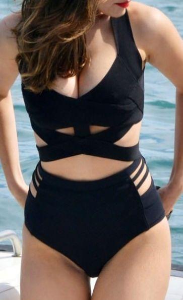 Crisscross Black Hollow Bikini Set