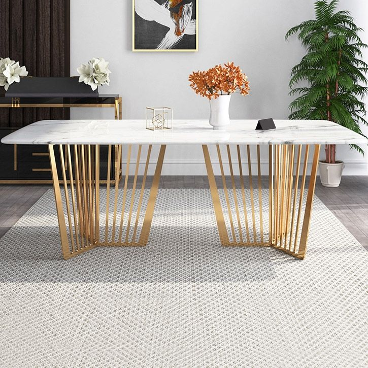 Contemporary 63 Rectangular Faux Marble Dining Table Gold Base